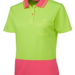 JB's Ladies Hi Vis S/S Comfort Polo Lime/Pink 8 Thumbnail