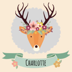 Stag with Flower Crown - Medium Calico Santa Sack Design