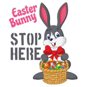 Easter Bunny Stop Here - Customised Flag -  Medium Wall Banner (A4) Design