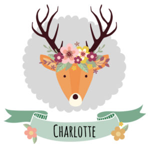 Stag with Flower Crown - Large White Pillowcase Santa Sack Design