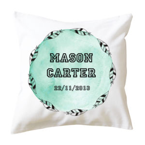 Feathers Birth Print - Cushion cover Thumbnail