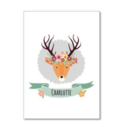 Stag with Flower Crown - A4 Print Thumbnail