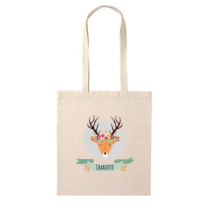 Stag with Flower Crown - Tote Bag Thumbnail