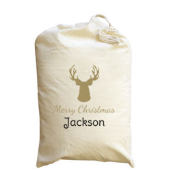 Stag Merry Christmas - Medium Calico Santa Sack Thumbnail