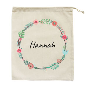Floral Wreath - Large Calico Bag Thumbnail