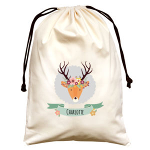 Stag with Flower Crown - Large Canvas Santa Sack Thumbnail