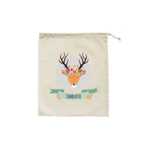 Stag with Flower Crown - Christmas Eve Bag Thumbnail