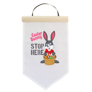 Easter Bunny Stop Here - Customised Flag -  Medium Wall Banner (A4) Thumbnail