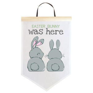 Easter Bunny Was Here - Personalised Custom Easter Flag - Large Wall Banner (A3) Thumbnail
