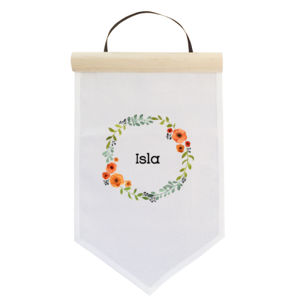 Floral Wreath Personalised Name - Small Banner (A4) Thumbnail