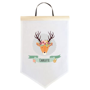 Stag with Flower Crown - Large Banner (A3) Thumbnail