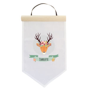 Stag with Flower Crown - Small Banner (A4) Thumbnail
