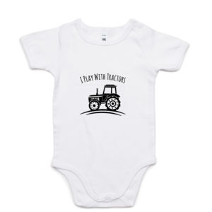 I Play With Tractors - Promo White Mini-Me One-Piece Thumbnail